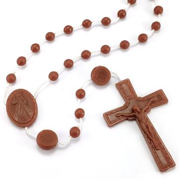 Divine Mercy Plastic Rosary Brown Beads