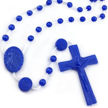 Divine Mercy Plastic Rosary Beads Dark Blue
