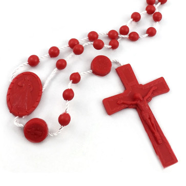 Divine Mercy Plastic Rosary Red