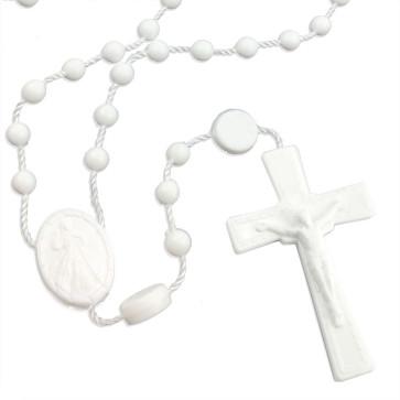 Divine Mercy Plastic Rosary White