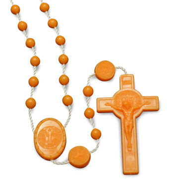 Orange Plasic Beads Rosary