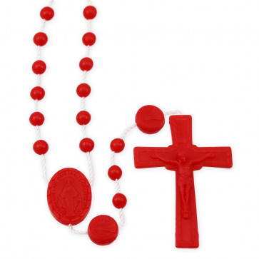 Red Plastic Beads Rosary