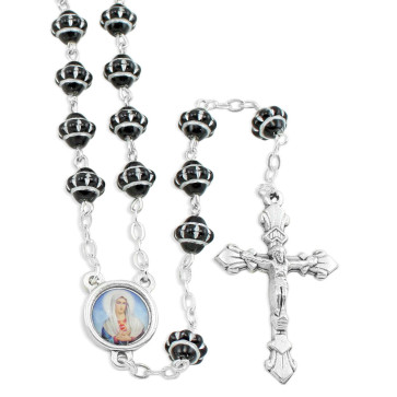 Black Glass Medieval Beads Rosary
