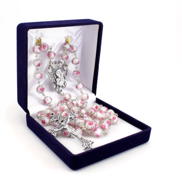 Madonna and Child Glass Beads Rosary