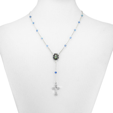 Blue Crystal Beads Rosary Necklace