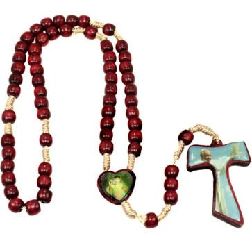 Tau Cross Rosary on Cord