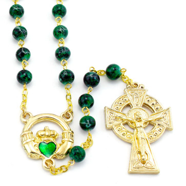 Irish Rosary with Green Glass Beads