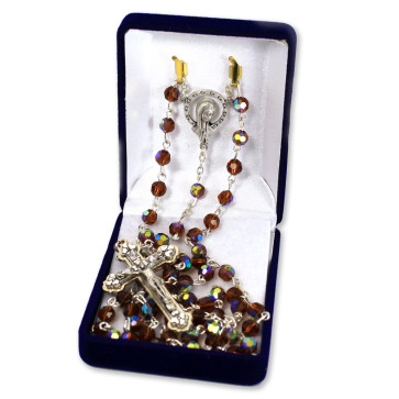 Amber Multifaceted Crystal Beads Rosary