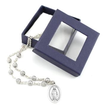 Catholic Miraculous Medal Rosebud Beads Necklace