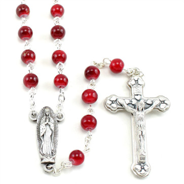 Lady of Guadalupe Red Glass Beads Rosary