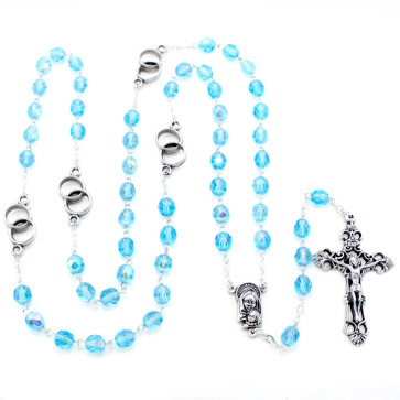 Wedding Rings Rosary w/ Aqua Crystal Beads