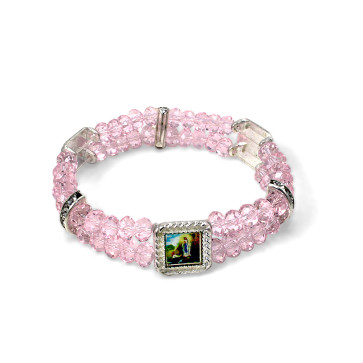 Holy Images Bracelet with Pink Crystal Beads-lourdes