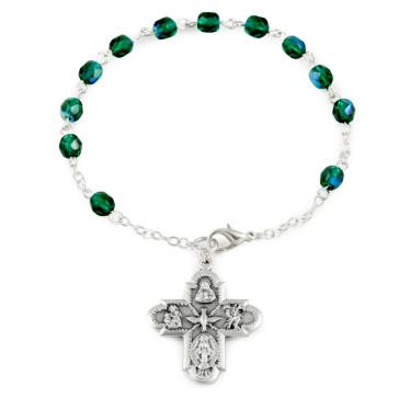 Four Way Cross Catholic Rosary Bracelet