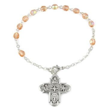 Pink Crystal Beads Rosary Catholic Bracelet