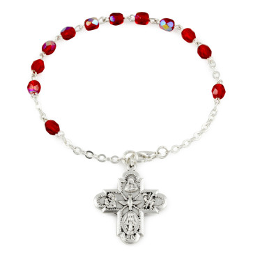 Rosary Bracelet Red Crystal beads