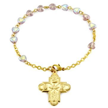 Rosary Bracelet Ametyst Heart Beads