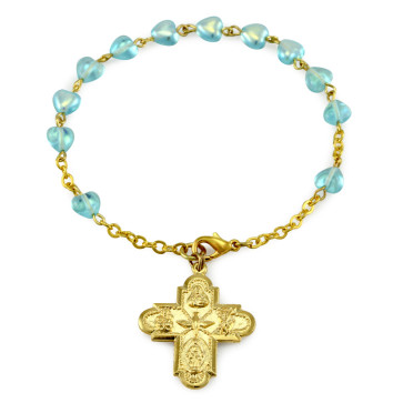 Aqua Heart Glass Beads Rosary Catholic Bracelet