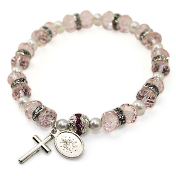 Pink Rosary Bracelet Crystal Beads