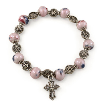 Pink Crystal Beads Rosary Catholic Bracelet