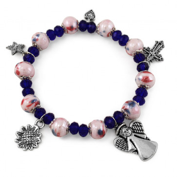 Rosary Bracelet with Silver Finish Pendents