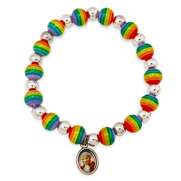 Saint John Paul II rosary rainbow color