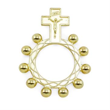 Gold Finish Ring Catholic Rosary