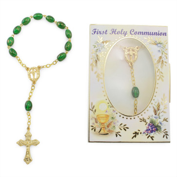 First Holy Communion Green Beads Decade Catholic Rosary