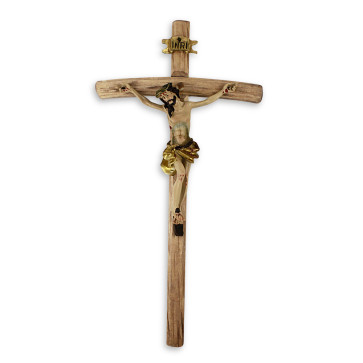 Wooden Wall Crucifix w/ Resin Christ Corpus 10 inch