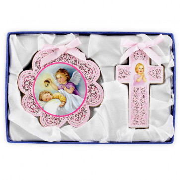 Catholic Baby Gift Set with Cross and Medal