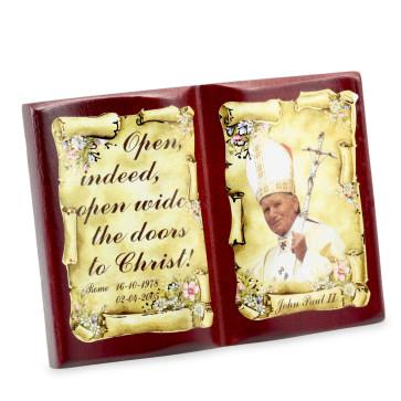 Pope John Paul II Open Book Plaque