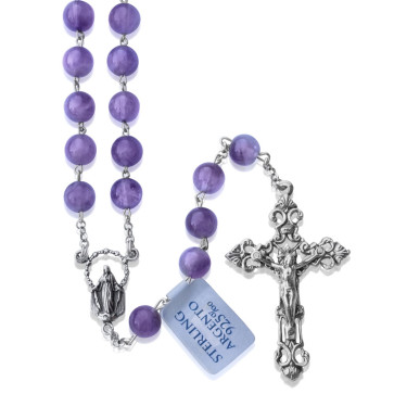 Rosary Amethyst Beads Sterling Silver