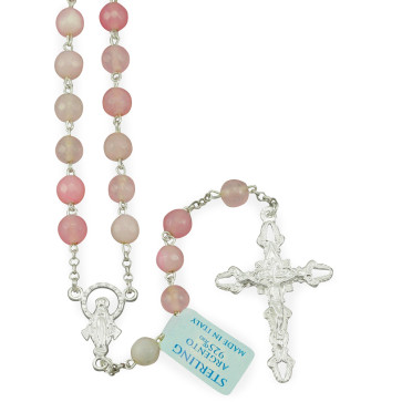 Rosary with Pink Agate Beads