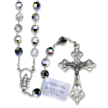 Rosary Vi-trail Crystal Beads Sterling Silver