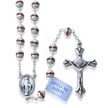 Red Swarovski Crystals Beads Rosary with Sterling Silver