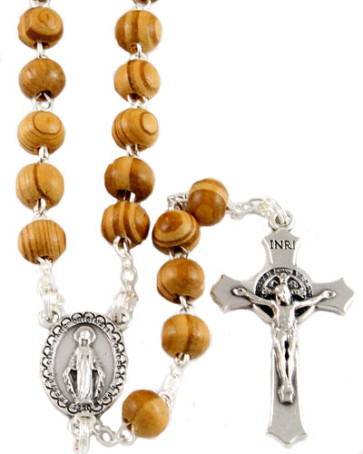 Miraculous Wooden Bead Catholic Rosary with Clasp