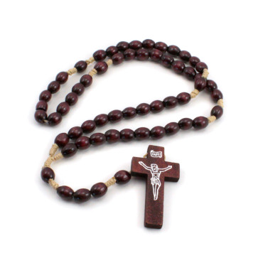 Dark Brown Wooden Beads Rosary with Imprint