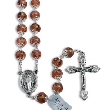 Amber Murano Beads Rosary Miracle Medal