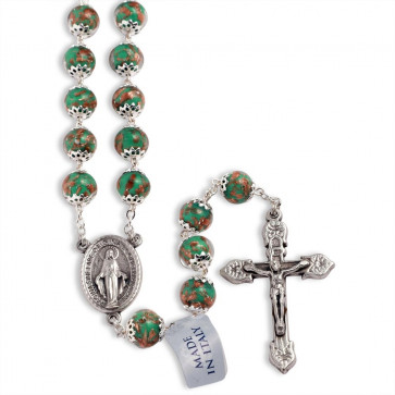 Green Murano Beads Rosary Miracle Medal