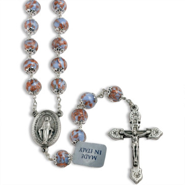 Light Blue Murano Beads Rosary Miracle Medal