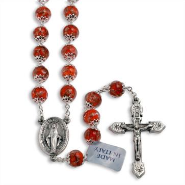 Orange Murano Beads Rosary Miracle Medal