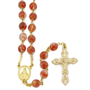 Rosary with Red Glass Beads