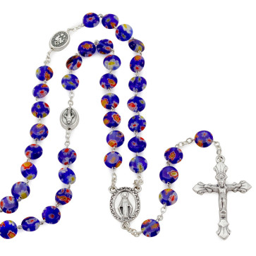 Rosary with Dark Blue Glass Beads