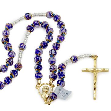 Catholic Rosary with Blue Beads
