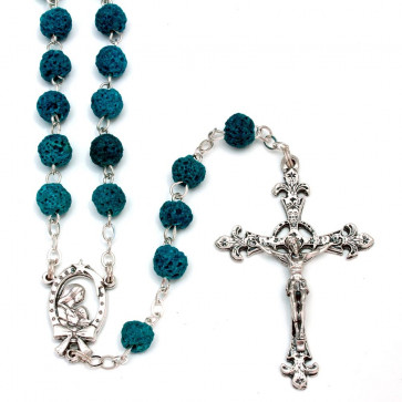 Rosary Blue Lava Rock Men Women Teens