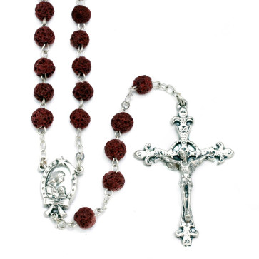 Rosary Red Lava Rock Mother Child Women Men Teens