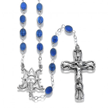 Blue Enamel Bead Rosary Lady of Miracles