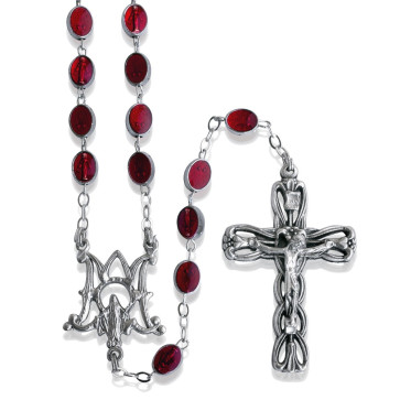 Red Enamel Bead Rosary Lady of Miracles
