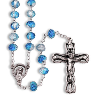 Rosary Overflowing Blue Multifaceted Glass Beads Antique Filigree Crucifix