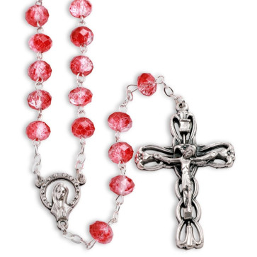 Rosary Overflowing Red Multifaceted Glass Beads Antique Filigree Crucifix