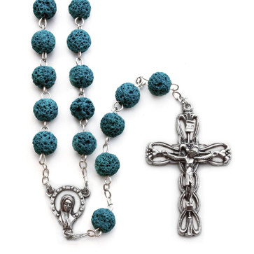 Rosary Green Lava Rock madonna Women Men Teens